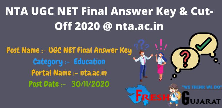 NTA UGC NET Final Answer Key & Cut-Off 2020 @ nta.ac.in