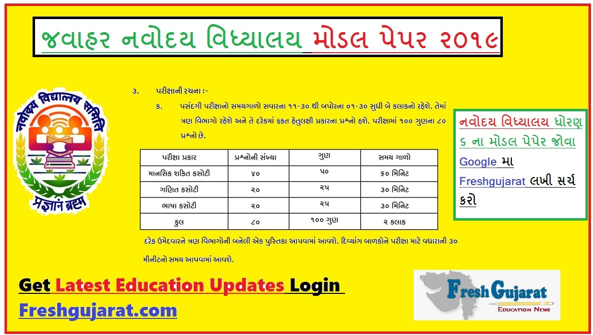 Navodaya Exam Model paper