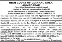 Gujarat High Court 276 Gujarati & English Stenographer Post