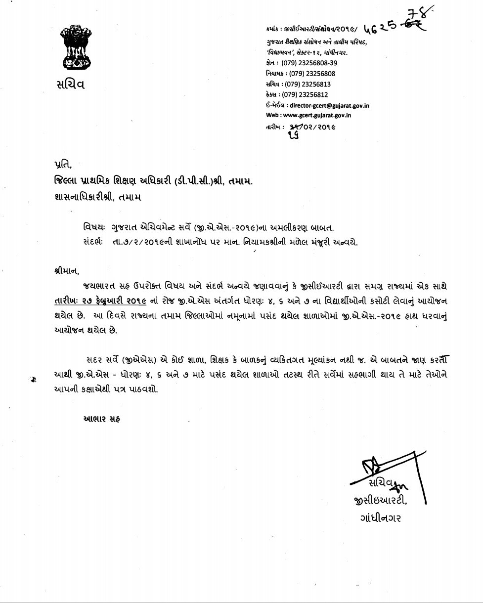 Gujarat Achievement Serve [G.A.S] Exam 2019